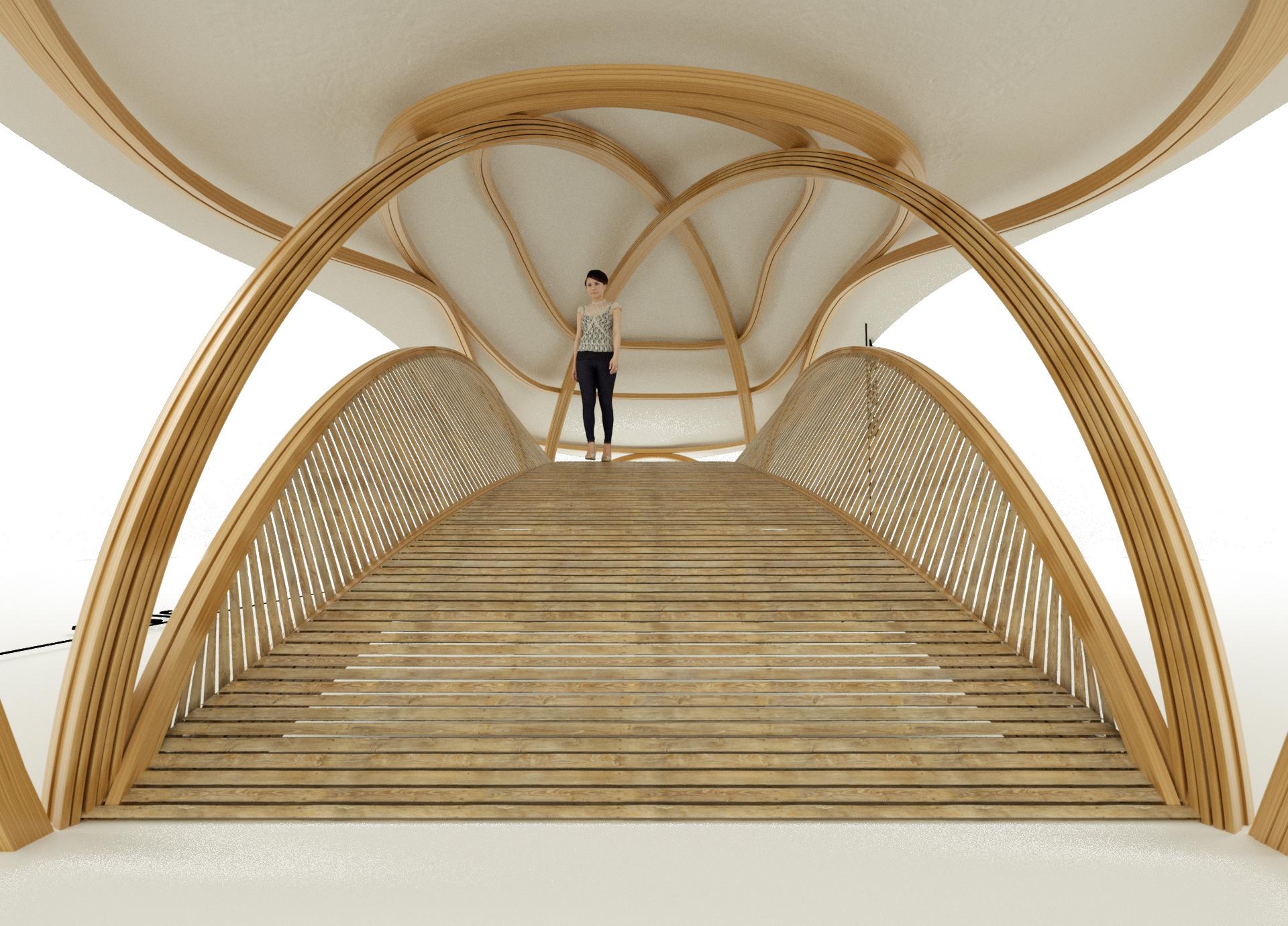 studiobamboo modern organic shaped bamboo bridge by studiobamboo